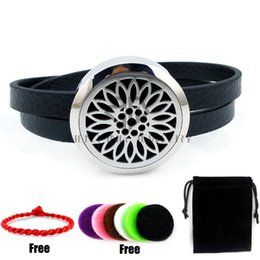 Wholesale Leather Magnet Clasp Bracelet - Round Silver Sunflower (25-30mm) with Black Genuine Leather Aromatherapy Locket Essential Oils Diffuser Locket Magnet Leather Bracelet