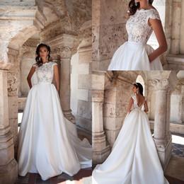 Wholesale Wedding White Dress Pockets - Hot 2017 Charming Taffeta A Line Wedding Dresses With Pockets Jewel Cap Sleeves V Back Sweep Train Bridal Dresses