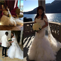 Wholesale Casual Off White Wedding Dresses - 2017 Modest Mermaid Bridal Gowns Off Shooulder Tulle Beach Casual Wedding Dresses Beaded Tulle Crystal Tiered Wedding Vestidos Custom Made