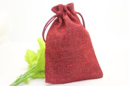 Wholesale Incense Packaging Bags - 50pcs lot 10*14cm Jute Bag Drawstring Gift Bag Incense Storage Linen Bag Cosmetic Jewelry Accessories Packaging Bag 9colour for your choice