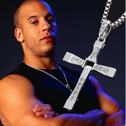 Wholesale Dominic Toretto Pendant - 20PCS Lot Fast and The Furious Dominic Toretto Vin New Movie Jewelry Classic Rhinestone Pendant Sliver Cross Necklaces Men