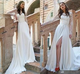 Wholesale Dress Slit Leg - Long Sleeve Lace Top A Line Beach Wedding Dresses 2017 New Elegant Sheer Neck High Legs Slits Chiffon Bridal Gowns Cheap Wedding Guest Wear
