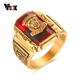Wholesale Tiger Ring For Men - Wholesale- Vnox Vintage Male Ring for Men Jewelry 1973 Walton Tiger High School Stainless Steel Metal
