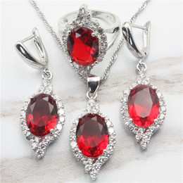 Wholesale Topaz Earrings Necklace - Made in China Created Red Garnet White Topaz Silver Color Jewelry Sets Women Necklace Pendant Earrings Rings Free Jewelry Box