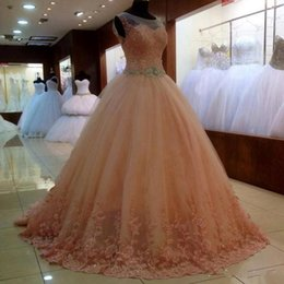 Wholesale Coral Beaded Waist Pageant Dress - Real Photos Coral Prom Dress Long 2017 Jewel Lace Beaded Waist Ball Gown Sweet 16 Dresses Quinceanera Evening Pageant Formal Wear Plus Size