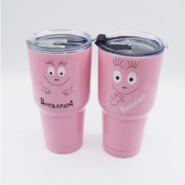 Wholesale Classic Pink - 2 Designs Newest 30oz Pink Barbapapa Cups 304 Stainless Steel Tumbler Mugs Vacuum Insulation Cup Beer Bar Travel Mugs With Lid CCA7272 25pcs