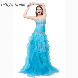 Wholesale Plus Size Prom Dresses Stores - In Stock Summer prom dresses 2016 China online store Heavily Beaded and Ruffles prom Gown Organza Aqua High-low Dress