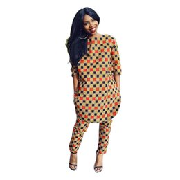 Wholesale Jumpsuit Slits - Wholesale- Adogirl Plaid Print 2 Piece Jumpsuit Plus Size XXL Women Casual Long Overalls Vintage Side Slit Half Sleeve Full Length Rompers