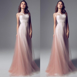 Wholesale Ombre Short Dress - Sheer Neck Strapless Pink Ombre Sheath Prom Dresses Long Floor Length Chiffon Tulle Weddings Party Dresses Formal Evening Dresses Custom