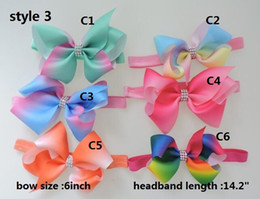 "Wholesale Hairpins Handmade Ribbon - OUTLET ! jojo 6"" Large Ombre Ribbon Hair Bow Girls Silver Rhinestone Middle Hairpins Handmade Kids Hair Accessories 30pcs"