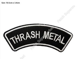 Wholesale Sewing Applique Patch - THRASH METAL Music Band Iron On Sew On Patch Slayer Anthrax Overkill Tshirt TRANSFER MOTIF APPLIQUE Rock Punk Badge Wholesale
