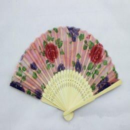 Wholesale Happy Ladies - Chinese Silk folding Bamboo Hand Fan Fans Art Handmade Flower Lady Fan 21cm About Random Color