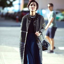 Wholesale long sweater trench coat - Wholesale- Cardigan Women Sweater Celebrity-inspired 2016 Design New Trench Coat Women Medium Long Warm Wool Jacket European Overcoat A023