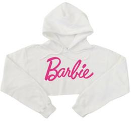 Wholesale Sexy Hoodie Women - Hoodies woman's sweatshirt harajuku Barbie pink letters hoodies sexy crop top long-sleeve punk hip-hop hoodies hip-hop sweatshirt