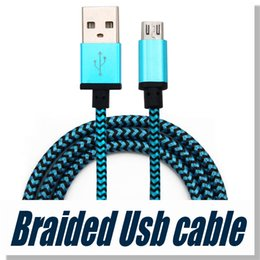 Wholesale Wholesale Packaging Nylon - Type C Mirco USB Cable Colorful Nylon Braid USB Cable USB 2.0 Date Sync Charger Cord For Android Cellphone Samsung S8 Plus without Package