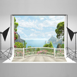 Wholesale White Color Fence - Natural Scenery Photography Backdrops for Photographers White Fence Photo Backdrop Seamless Mountain Photo Studio Background HJ05338