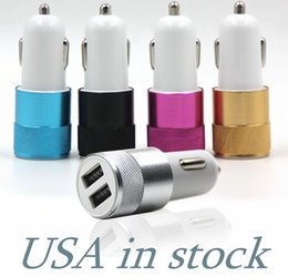 Wholesale Charging Port Lg - Metal Car charger Aluminium Alloy 2.1 A Dual USB port High quality charging Adapter For Tablet Samsung Galaxy S8 mobile phone