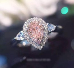 Wholesale Pink Sterling Silver Ring - Wholesale Luxury Jewelry 925 Sterling Silver Pink Sapphire AAA CZ Diamond Gemstones Pear Cut Wedding Women Engagement Band Heart Ring Gift