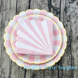 Wholesale Striped Paper Plates - Wholesale- 72pcs Striped Paper Plates Baby Pink Seafoam Pink and Gold Foil Scallop 9inch 7inch Paper Plates and Paper Napkin for Wedding