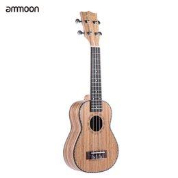 """Wholesale Ebony Board - Wholesale- ammoon 21"""" Ukulele 4 Strings Zebrawood Board Rosewood Fretboard OX Bone Saddle Stringed Instrument Gift Present"""