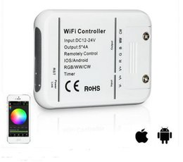 Wholesale Led Rgb Controller Wifi - 2017 dhl SHIP Wifi LED RGB RGBW Controller IOS Android RGBW WW CW DC7.5-24V smartphone control music and timer mode