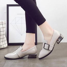 Wholesale Women Oxford Shoes Fashion Brand - Fashion brand design shoes woman gray black slip British style Oxford footwear for lady buckle belt women squard toes pea flats