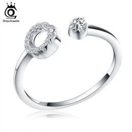Wholesale Wholesale Adjustable Cuff Rings - Orsa Jewels New Arrived Genuine 925 Silver Paved Zero Open Cuff Adjustable Finger Rings For Women SR06