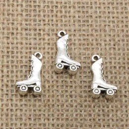 Wholesale Making Shoes Fit - Wholesale 100pcs Charms Tibetan Silver Bronze Plated roller skates shoes 20*11mm Pendant for Jewelry DIY Hand Made Fitting