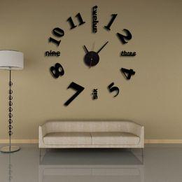 Gros-2016 nouvelle 3d horloge murale horloges reloj de pared montre grand diy décoratif autocollants design moderne Salon Quartz livraison gratuite ? partir de fabricateur