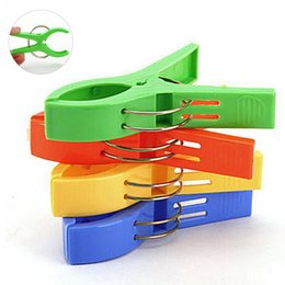 Wholesale Windproof Clothes Pegs - 4pcs lots Plastic Clips Clothes Hook Laundry Clips Multipurpose Bra Socks Hanger Pegs Windproof Clothespins