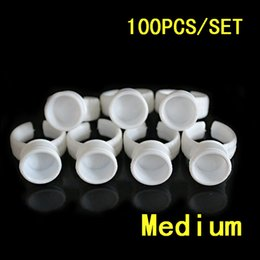 Wholesale Ring Ink Cups - Wholesale- 100pcs Medinu partition pigment ring Ink Cups Pigment Color Rings Permanent Make Up Ink Tattoo Accessories