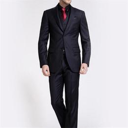 Homme 3 pièces Costume 2017 Costumes Slim Noir formel Stripe Costume de marié robe de mariée pour les hommes Blazer avec un pantalon gilet cravate ? partir de fabricateur