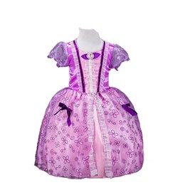 Wholesale Gauze Sleeping - Girl's Button Dresses Bow Printed Gauze Lace Lt. Purple Sleeping Beauty Sofia Rapunzel Cinderella Belle Princess Party Costume Cosplay Dress