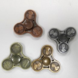 Wholesale Mini Coins Toy - America Cent Coin Lincoln Head Pattern Metal Hand Fidget Spinner Gyro HandSpinner Fingertips Fingers Fidget Tri-spinner EDC Toys Gifts 2017
