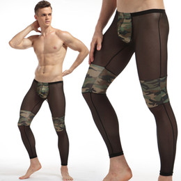 Wholesale Transparent Legs Sexy - Men Fashion Sexy Transparent Camouflage Tights Breathable Bodybuilding sheer Mesh full length pants legging long john gay