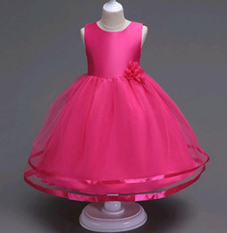 Wholesale Girls Christmas Dresses Size 14 - Simple Girls Wedding Princess Dress Beaded Flower Solid Color Mesh Mid Calf Length Dresses for Kids size 3-14 years