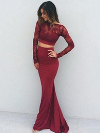 Wholesale hollow triangle - 2018 Trumpet Mermaid Scoop Neck Lace Silk-like Satin with Lace Sweep Train Backless Long Sleeve Two Piece Sexy Prom Dresses