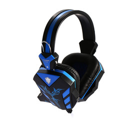 Wholesale Headphones Line Microphone - Cosonic Stereo Gaming Headset with 3.5mm plug Crack Line Design Volumn Control Microphone LED LightGame Headphone +B