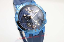 Wholesale Skeleton Automatic Mechanical Watch Sale - Luxury aaa watch Discount Sale UN Brand Auto-Watch Men Stainless Skeleton Hollow Dial Blue Rubber Band GMT Perpetual Movement Watch