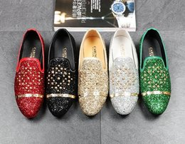 Wholesale Casual Shoes For Dresses Blue - Men Brand Designer Streets Trendsetter sequins rivet loafers Casual Flats Shoes Male Homecoming Dress Wedding Prom shoes for groom