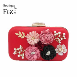 Wholesale Silk Flowers For Wedding Ivory - Red PU Flower Appliques Beaded Crystal Evening Clutches Bag For Women Fashion Party Dinner Hand Bag Bridal Clutch Wedding Purse