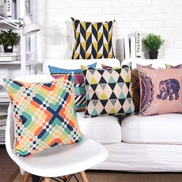 Wholesale Elephant Pillow Pattern Free - Free shipping Gift geometric triangles dots zigzags chevrons cross elephant pattern linen Cushion Cover home cafe decorative pillow Case