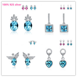 Wholesale 925 Ring Swarovski - Fashion 100% 925 silver ear rings Love romance Infinity Swarovski crystal earring Women Party gift lover's infinite Valentine's Day jewelry