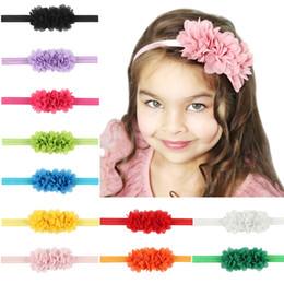Wholesale Hair Flowers For Kids - Baby Headbands Flower Kids Elastic Chiffon Headband for Girls Children Hair Accessories Newborn 3 Flower Hairbands Baby Headwear KHA155