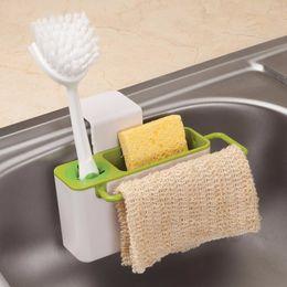 Tipi portaoggetti online-Cucina Storage Organizer Rack Sapone Spugna Brush Holder Sink Caddy Cabinet Tipo di sospensione