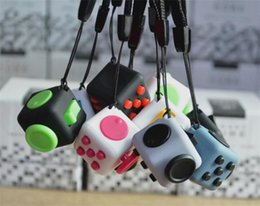 Wholesale Cube World Toys - hot 11 design new fidget cube Keychains the worlds first American decompression anxiety toys Keyring 2.2*2.2cm in stock now Y005