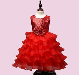 Wholesale Wear Summer Clothes For Winter - 3 Color Girls Party Wear cake Dress Kids New Sequins Children Wedding Birthday princess bowknot dresses For Girls Kids Clothing L001