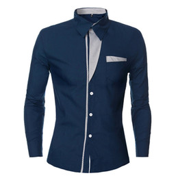 Wholesale Silver Neck Collar Wholesale - Wholesale- Chemise Homme Lapel Neck Long Sleeve Pockets Patchwork Camisa Masculina Casual Solid Fit Mens Dress Shirt Plus Size Hot Sale