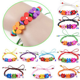 Wholesale Coloured Wristbands - Wholesale-1PCS Colour Flower Wood Bead Charm Bracelet Cuff Wristband kids boys girls party Free Shipping