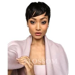 Couper la frange en Ligne-Vente chaude Pas Cher Pixie Cut Humain Très Court Perruques De Cheveux Avec Bangs Top Brésilien Perruques Humaines Cheveux Pour Les Afro-Américains